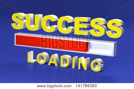 Success loading Progress bar design. 3D rendering.