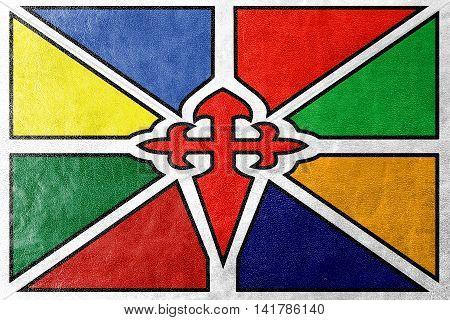 Flag Of Merida, Venezuela, Painted On Leather Texture