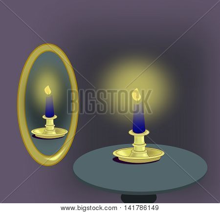 A blue candle standing on a table next to a mirror.