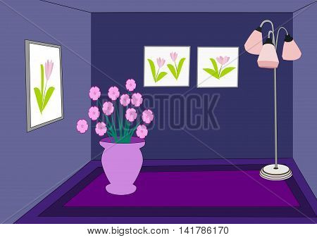 A dark blue room with a pink lamp, picture frame on the wall, and a vase of flowers.