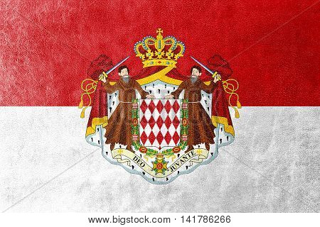 Flag Of Monaco With Coat Of Arms, Painted On Leather Texture
