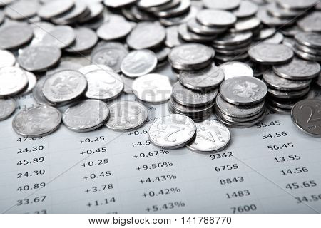pile of coins and counting close up