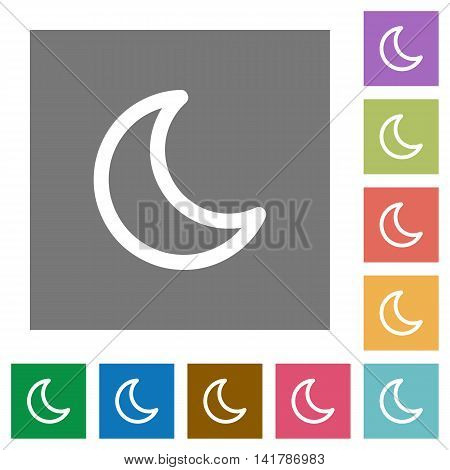 Moon shape flat icon set on color square background.
