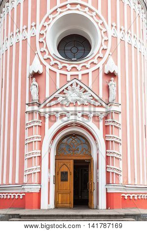 Entrance to Chesme Church (Church of St John the Baptist Chesme Palace) in Saint Petersburg
