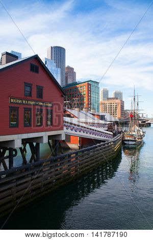 BOSTON,MASSACHUSETTS,USA - JULY 2,2016: Boston Tea Party Museum which is a floating history museum with live reenactments multimedia exhibits and tearoom.