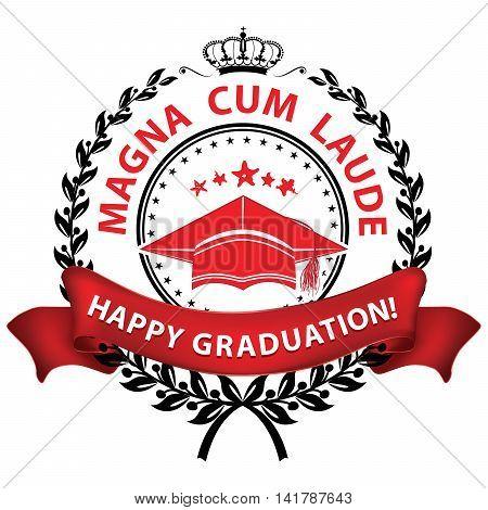 Magna cum laude. Happy Graduation! - elegant red stamp / label. Print colors used