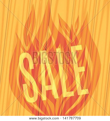 Sale of parquet slope fiery flame on a wooden boards background Vector illustration