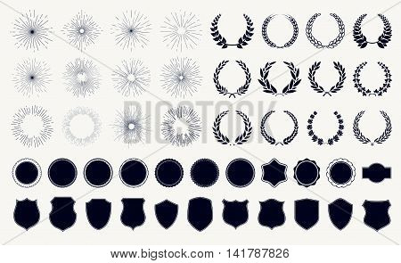 Vector set sunburst laurel wreaths and shields
