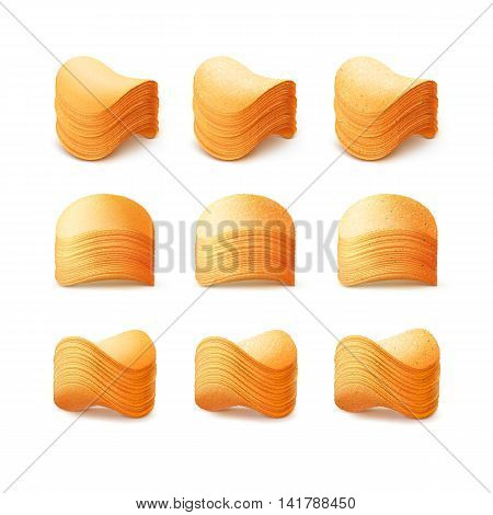 Vector  Set of  Potato Crispy Chips Stacks Close up Isolated on White Background