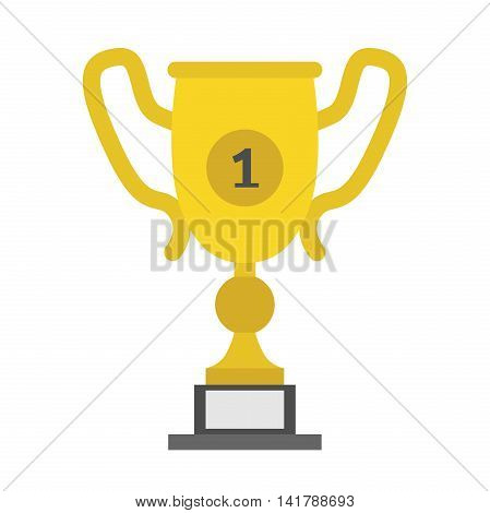 Gold winner cup isolated on white. First place trophy victory sports award achievement and goal concept. Flat design. Vector illustration. EPS 8 no transparency