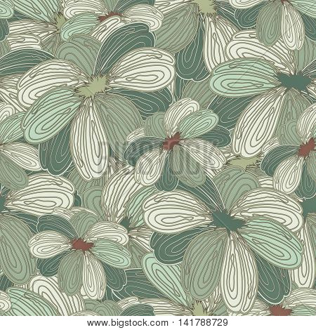 Seamless green Floral Ornamental Abstract Colored Pattern With Flowers