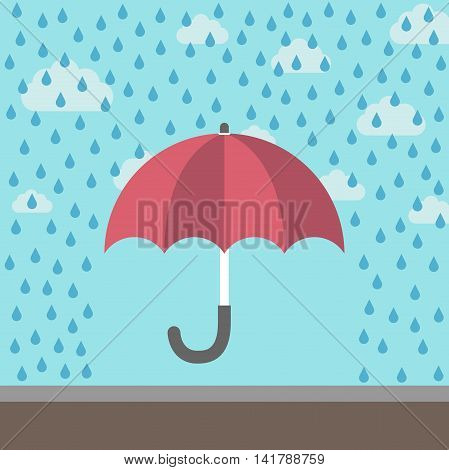 Red umbrella under rain protecting against raindrops on blue sky background with clouds. Safety crisis weather and protection concept. Flat design. Vector illustration. EPS 8 no transparency