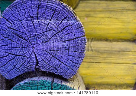 fragment of an old wall closeup from wooden logs of violet green yellow color and a blank space