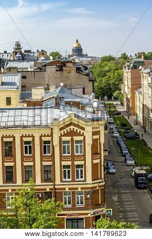 13 may 2016.Sain-Petersburg.View from the roof to the street and St. Isaac's Cathedral in St. Petersburg.Russia.