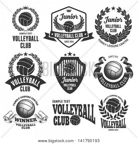 Set of Emblems, Logos and Labels on Volleyball Theme and for Volleyball Club. Vector Illustration. Isolated on White Background.