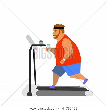 Obese young man running on a treadmill. vector illustration
