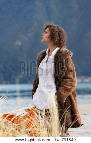 beautiful girl on the seashore, portrait