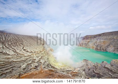Lake and  Sulfur Mine at Khawa Ijen Volcano Crater Java Island Indonesia