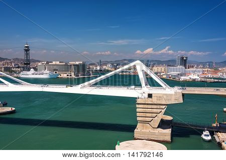 Cruise ship harbor and port in the city of Barcelona Spain