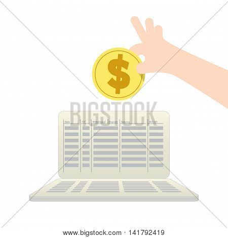Saving Money And Spending With Saving Account Illustration Vector. Finance Concept.