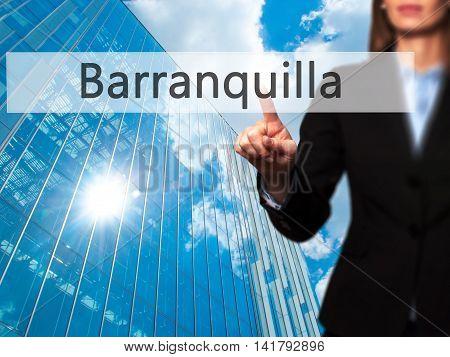 Barranquilla - Female Touching Virtual Button.
