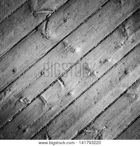 Old Gray Wooden Floor With Screws