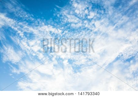 Blue Sky With White Altocumulus Cloud Layer