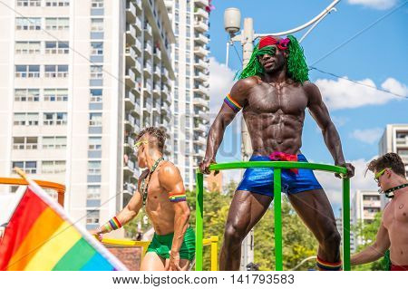 Toronto CA - 3 July 2016: gogo dancers performing during the pride parade
