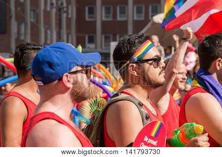 Toronto CA - 3 July 2016: Happy parade goers participate in 2016 Toronto Gay Pride March