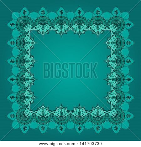 Border of lotuses in east style. Can be used for backgrounds business style tattoo templates cards design or else. Vector illustration.