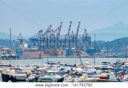 View of cargo port and container terminal in La Spezia. Italy. Liguria.
