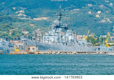 NATO Military ships in the Bay of La Spezia. Italy. Liguria.