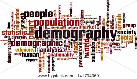 Demography word cloud concept. Vector illustration on white