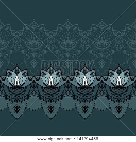 Seamless pattern with lotuses. Can be used for backgrounds business style tattoo templates cards design or else. Vector illustration.