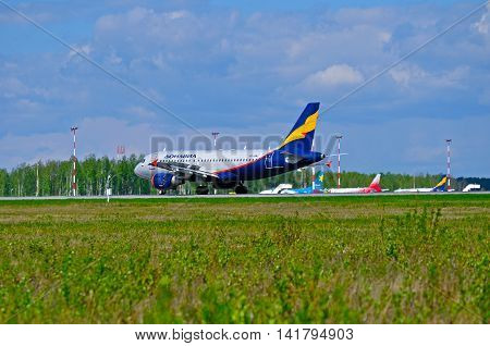 SAINT PETERSBURG RUSSIA - MAY 11 2016. VP-BWJ Donavia Airbus A319-111 airplane is riding on the runway after landing in Pulkovo airport