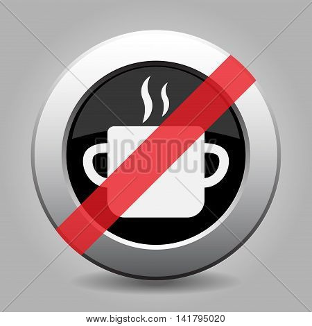 gray chrome button with no cooking pot with smoke - banned icon