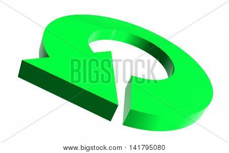 Illustrated round arrow in green color