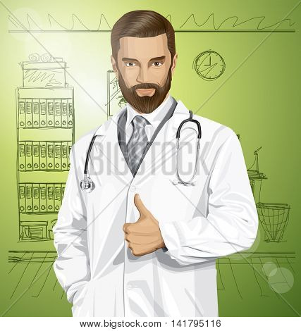 Vector doctor man with stethoscope shows well done in office