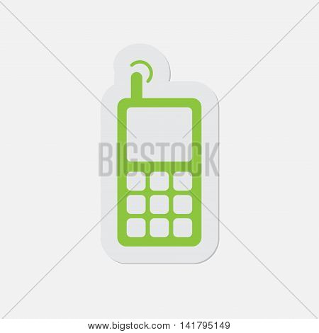 simple green icon - contour and shadow old mobile phone with antenna and signal on a white background
