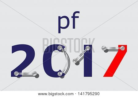 pf card new year 2017 - blue and red with plates screws
