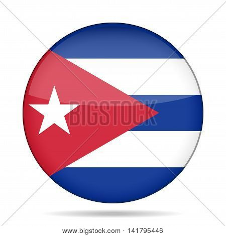button with national flag of Cuba and shadow
