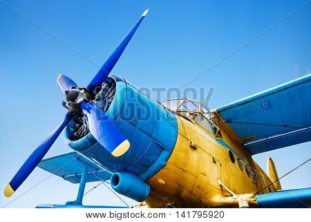 old airplane on the runway ready for takeoff