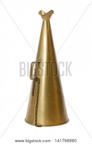 Vintage brass bullhorn isolated on white background