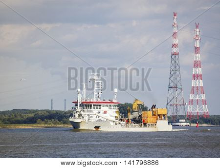 Hopper Dredger on the Elbe river near Hamburg