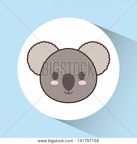 Cute animal design represented by kawaii koala icon over circle. Colorfull and flat illustration.