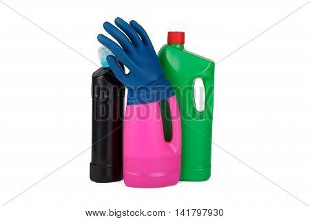 Detergent Bottles With Cleaning Concept