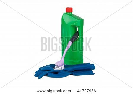 Detergent, Brush And Rubber Glove
