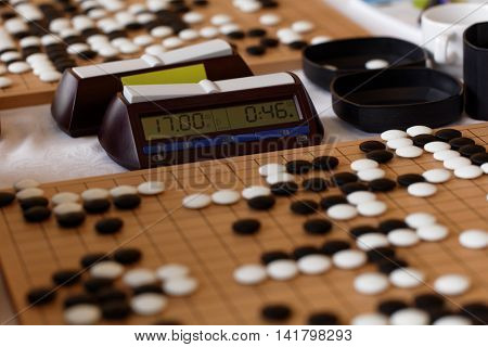 ST. PETERSBURG, RUSSIA - AUGUST 6, 2016: Game clocks and boards during European Go Congress. 1176 people from 48 countries are registered in this 60th Congress