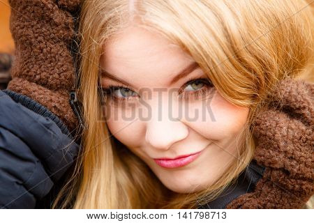 Closeup Woman In Winter Clothing