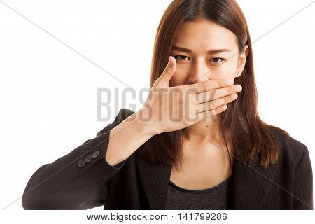 Young Asian Business Woman Close Her Mouth With Hand.